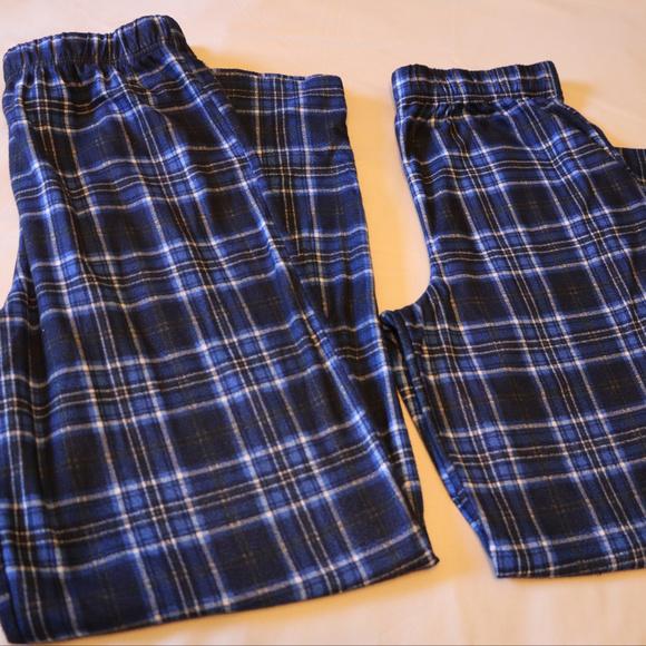 Boys Blue Plaid PJ Lounge Pants x2 Large 14-16